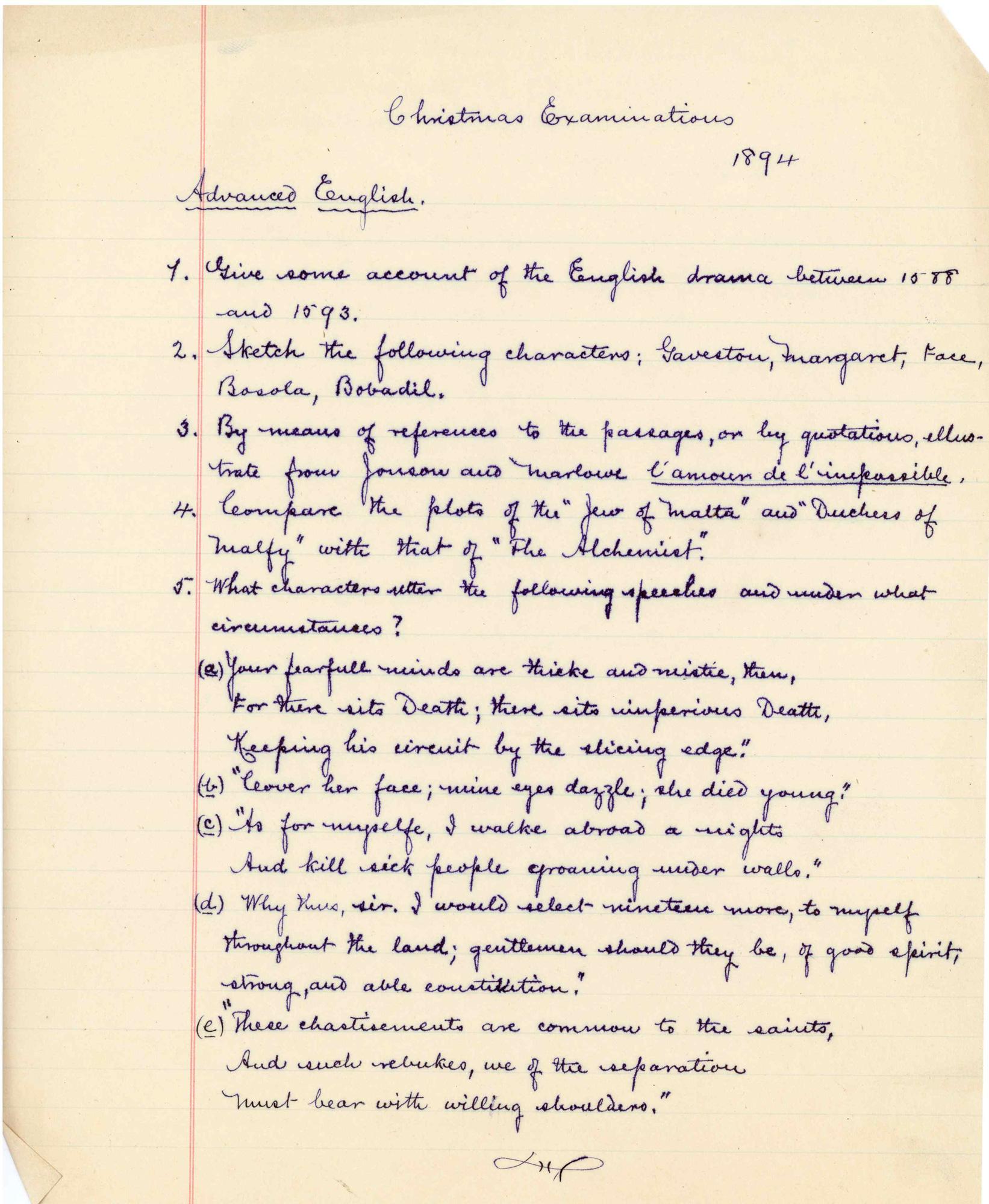 1894 English examination