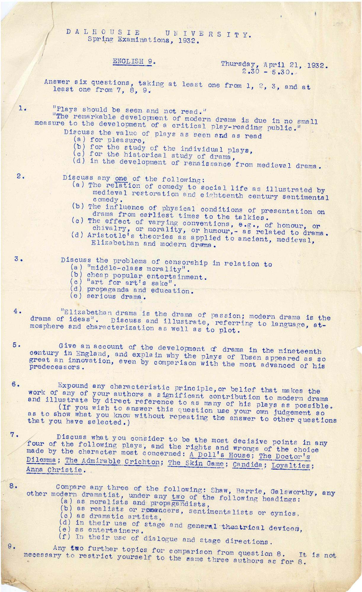 1932 English examination